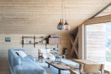 living room that is clad in wood