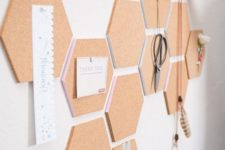 02 cork hexagons with pastel edges cna be used to create a customized pinboard