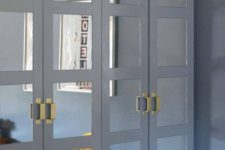 02 slate grey framed mirrored doors plus geometric brass handles for a contrasting and eye-catchy look