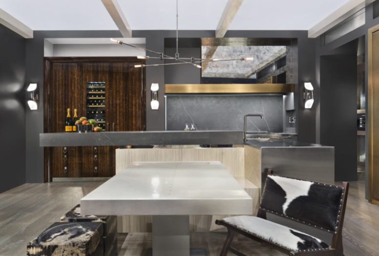 The kitchen island is a great space for cooking and having meals