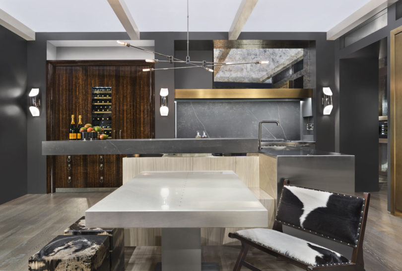 kitchen island with a seating area
