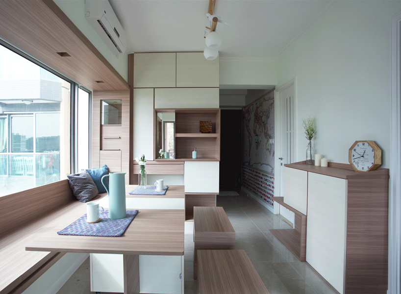 You can make a whole dining space for several people, with an adjustable table and movable benches