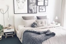 04 a gorgeous gallery wall in black and white with a girlish feel