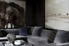 04 a large grey leather upholstered ottoman makes a great fit for the living room and provides storage