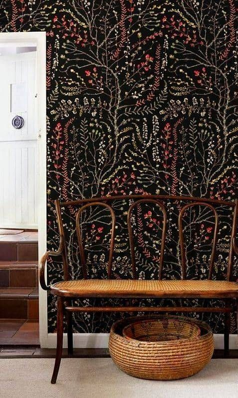 black wallpaper with botanical prints will make your entryway special and eye-catchy