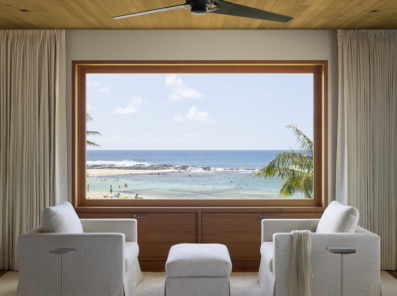 The views are perfectly captured with large windows and glazed walls