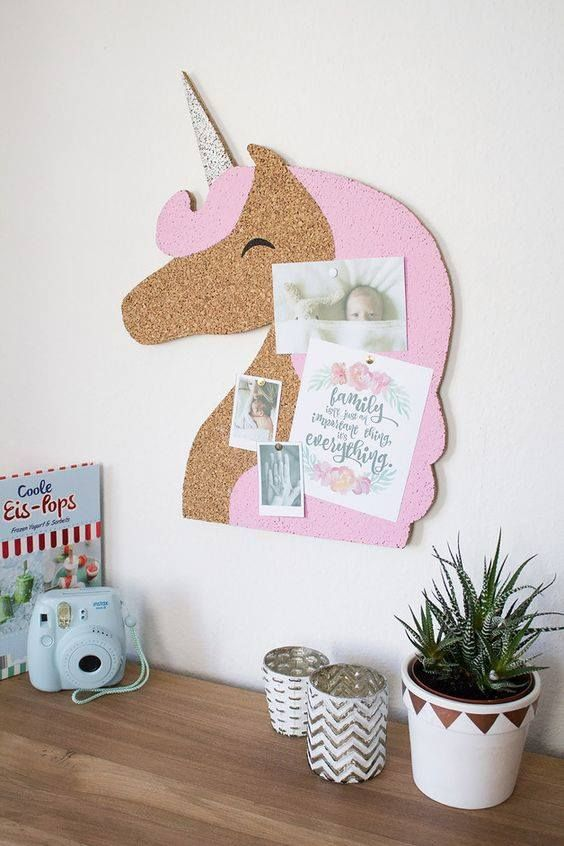 a creative cork pinboard shaped as a unicorn is great for kids' spaces