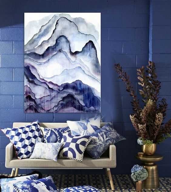 an abstract watercolor artwork fits the room decor and reminds of agate prints