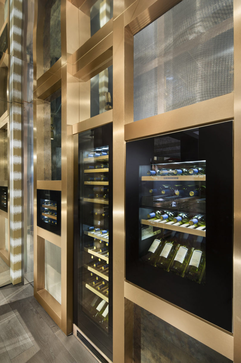 Various wine coolers at different heights