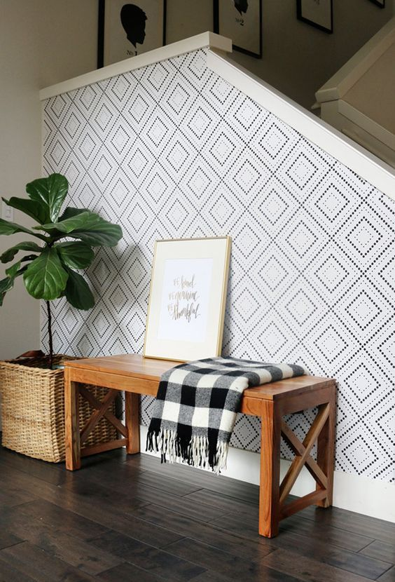 geometric wallpaper is a stylish choice that fits most decor styles