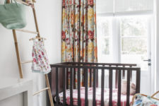 07 The kid's space is done with floral textiles, a striped rug and looks very lively and colorful – exactly what a small girl needs
