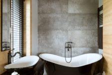 minimalist bathroom with wood and concrete decor