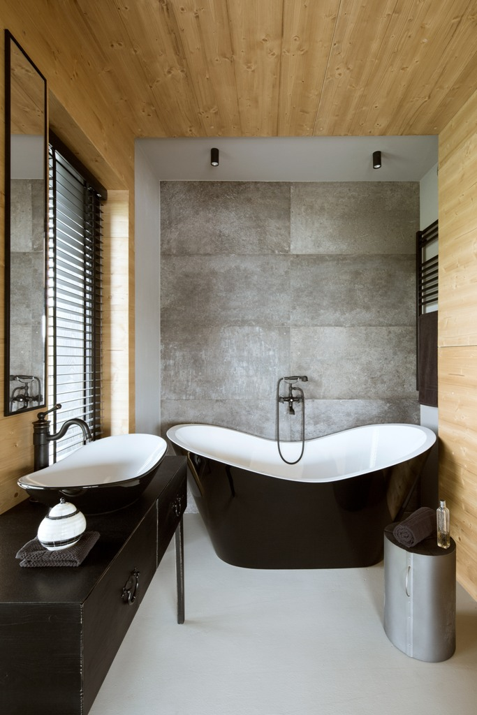 minimalist bathroom with wood and concrete decor