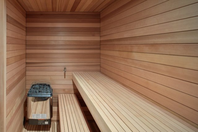 There's also a sauna fully clad with wood to enjoy heat after skiing
