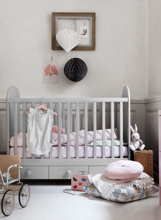 a grey IKEA Gonatt cot is ideal for a peaceful nursery done in neutrals