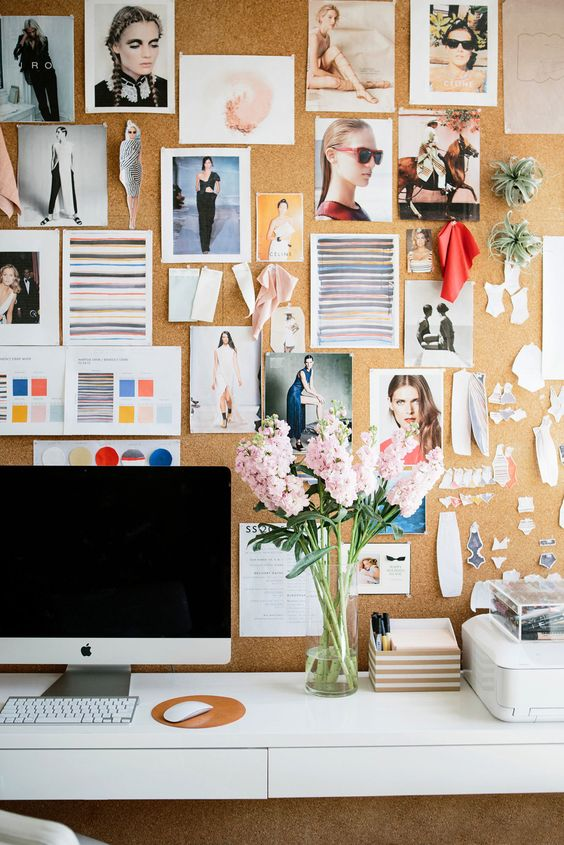 an oversized cork pinboard is a great idea to get inspired