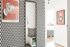07 go for black and white geo print wallpaper for a mid-century modern space