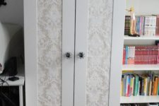07 hack Aneboda with printed wallpaper or adhesive paper and chic knobs in vintage style