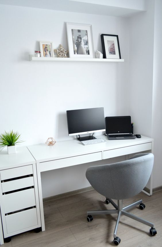 a clean and minimalist working space with Micke desk and a drawer unit