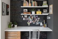 09 a chalkboard nook with floating shelves and a floating desk with several drawers for a lightweight look