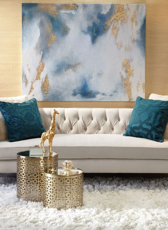an abstract artwork with gold leaf is a great addition for a glam interior