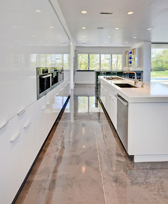 Elegant Epoxy Floors Installed In The Kitchen Because They Are Super Resistant
