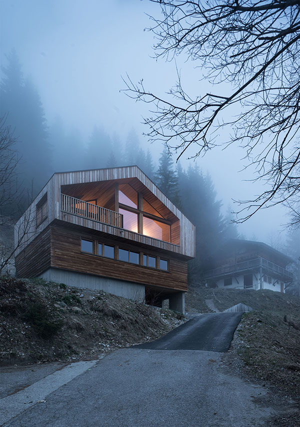 The exterior of the chalet is restricted and imitates traditional mountain homes