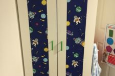 10 a fun Aneboda hack with bold green handles and spaceman printed wallpaper for a boy's room