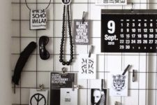 10 paint the grid with black paint and use it to hang all kinds of pieces and photos