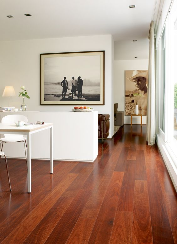 redwood inspired laminate makes a bold statement in this neutral space