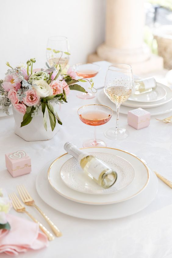 subtle table setting with blush and gold touches for an exciting lunch