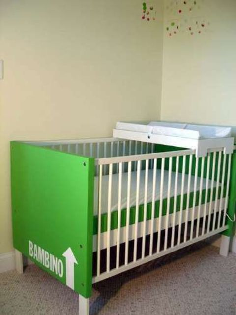 turn the cot from a usual into a bold one with a stylish hack like this one - some bold paint and stencils