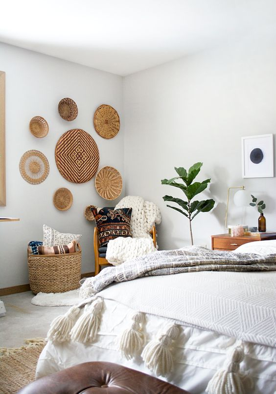 wall baskets are a great idea to add a rustic or boho touch to your bedroom