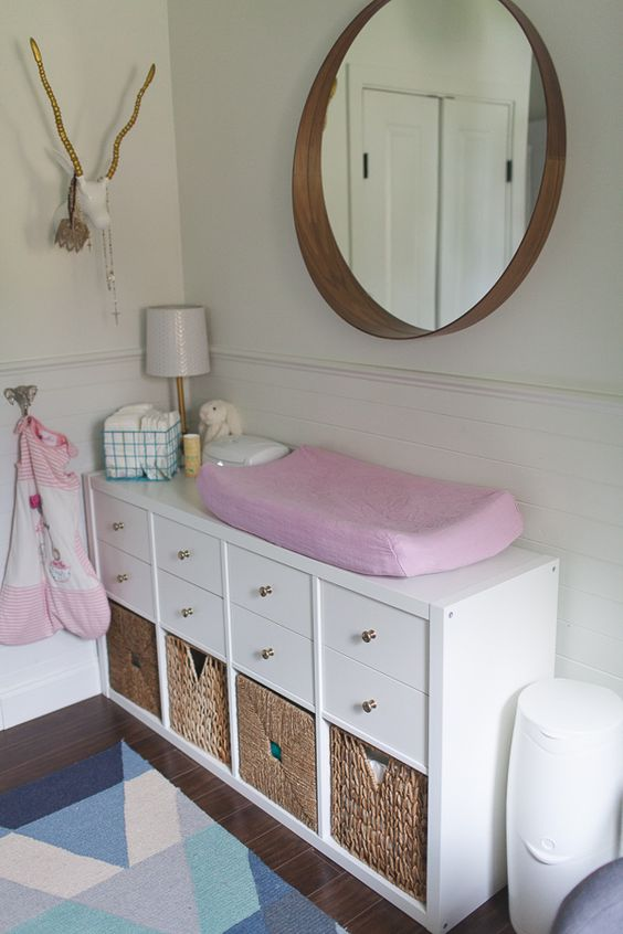 IKEA Kallax shelving unit turned into a changing table with lots of storage