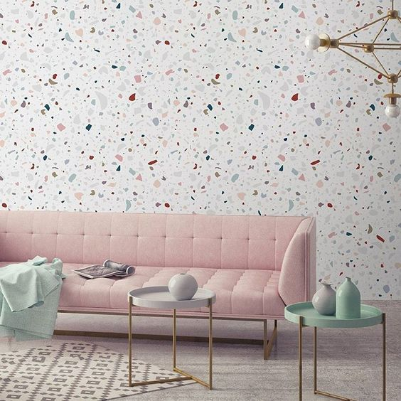 terrazo is represented in wallpaper collections, too, so you may add it to any space
