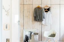 13 a large built-in piece of Pax wardrobes with natural wood front panels is a gorgeous idea
