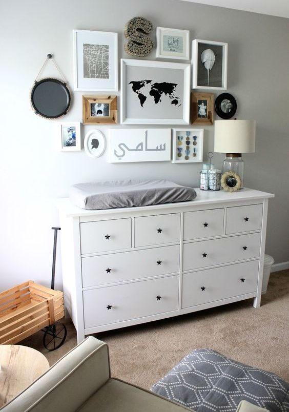 take IKEA Hemnes dresser and use it as a changing table using drawers for storage