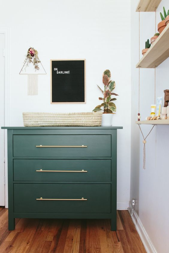 IKEA Rast hack in emerald as a small and comfy changing table
