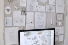 15 a large pinboard covered with light grey fabric for a light shabby chic or vintage feel