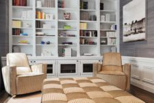 15 an oversized upholstered checked ottoman and matching chairs for the reading zone