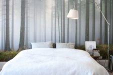 16 a foggy forest wall mural is a great idea to add a natural touch to your space
