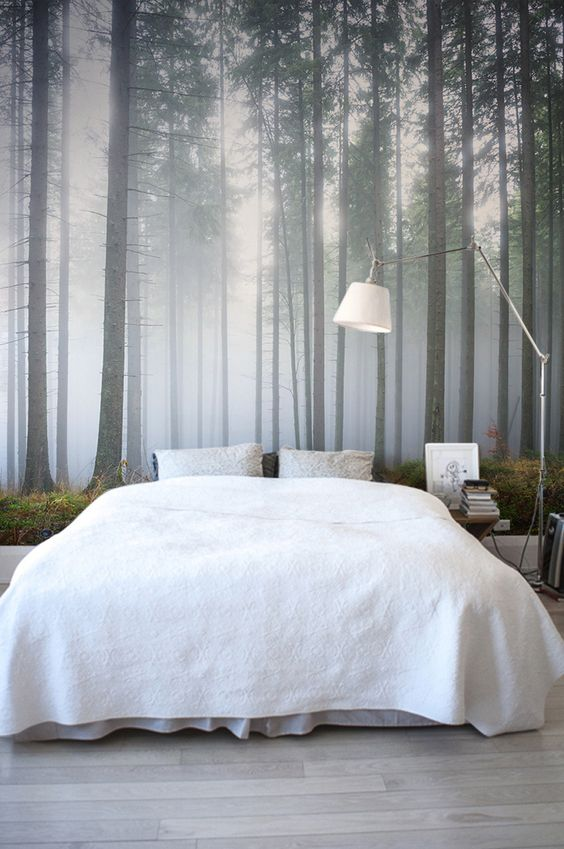 a foggy forest wall mural is a great idea to add a natural touch to your space