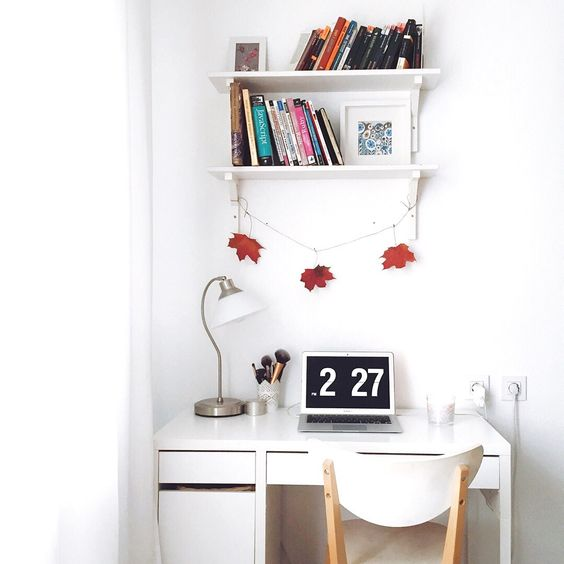 a simple workspace with a Micke desk and a wall shelf over it can be placed anywhere