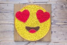 17 a bold string art with in love emoji is a chic modern piece for decor