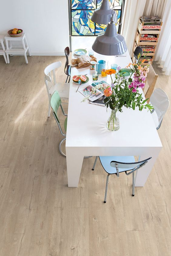 laminate may release some VOCs, so it's not th ebest idea for an eating space or a kids' room