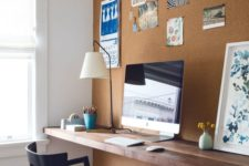 cork statement wall in a home office