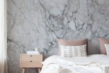 18 a marble wallpaper headboard wall keeps the space relaxing yet interesting