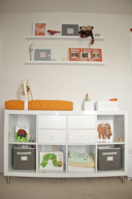 IKEA Expedit changing table with drawers and open storage