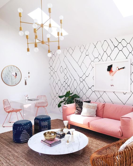 a glam girlish space with a cool graphic wallpaper wall