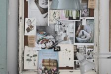 19 a pinboard made of burlap and an old window frame is a great idea to add a shabby chic feel